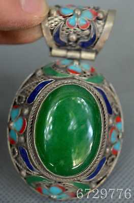 Collection Miao Silver Cloisonne Carve Flower Inlay Jade Fashion Lucky Pendant