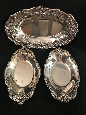 Vintage Mixed Lot 3 Oval Silver plated Trays Serving Wedding Farmhouse Decor