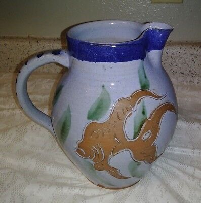 "Signed Schuh Hand Painted 8"" Terracotta Art Pottery Pitcher Carved Angel Fish EX"