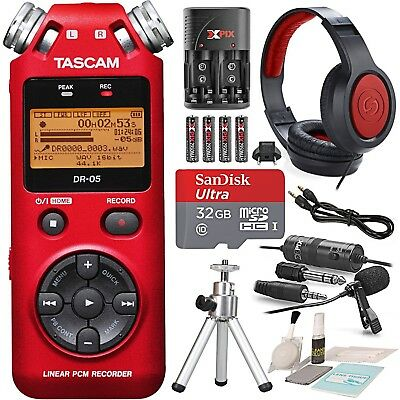 Tascam DR-05 (Version 2) Portable Handheld Digital Audio Recorder (Red) with ...