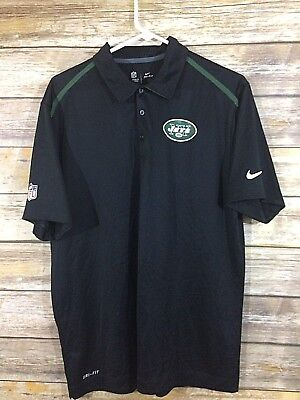 Nike NFL On Field Dri Fit New York Jets Polo Shirt Size Large Green Black 8f9c71cb4