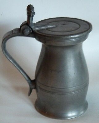 "Antique English Pewter Quart ""Bud"" Baluster Measure by John Carr I, early 1700s"