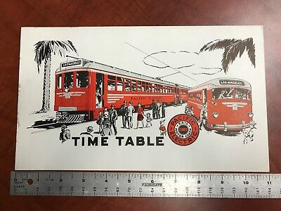 PACIFIC ELECTRIC RAILWAY 1940's PUBLIC TIME TABLE TOP LAMTA LOS ANGELES TRANSIT