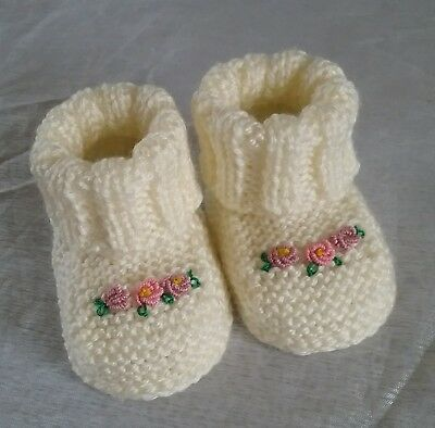 Adorable Hand Knitted Baby Girl Booties 0-3 Months New