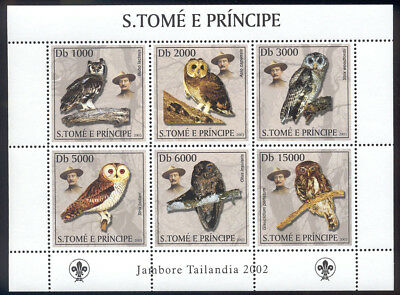 St Thomas & Prince Is-2003 MNH sheet of 6 owl stamps #1503 cv $ 9 Lot #201