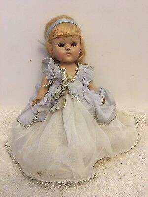 Vintage Vogue Ginny Doll Strung Painted Lash In Blue And White Formal Mohair Wig