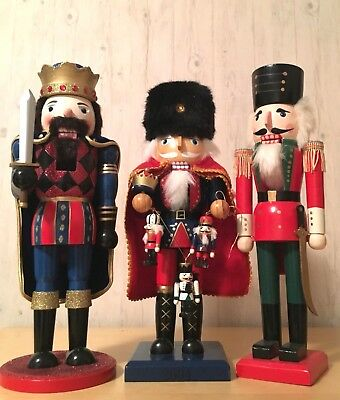 "3pcs Collectible 15"" Hand Crafted Wood Nutcrackers King & Royal Guards"