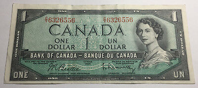 Canada 1954 One Dollar Note - C/Y Prefix - Queen Elizabeth II
