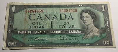 Canada 1954 One Dollar Note - E/Z Prefix - Queen Elizabeth II