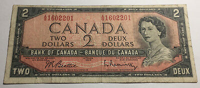 Canada 1954 Two Dollars Note - A/G Prefix - Queen Elizabeth II