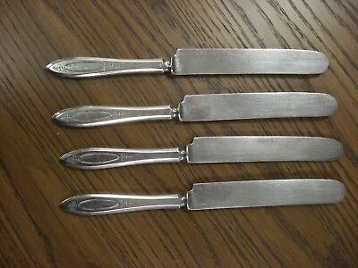 """set of 4 ADAM French Solid Knife 9"""" Community Silver Plate with Plated Blades"""