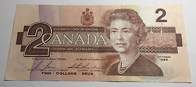 Canada 1986 Two Dollars Note - CBJ Prefix - Queen Elizabeth II
