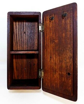 Early 20Th C Antique Wall Mounted Stained Oak Divided Hinged Key Box, W/cover