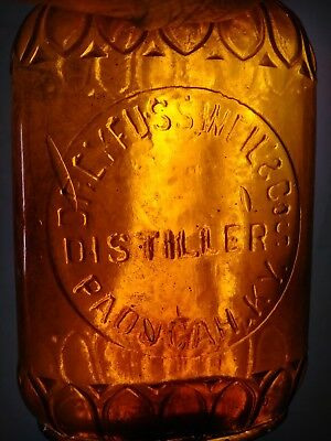 vintage antique bottle whiskey 1/2 pint dreyfuss weil Kentucky amber slug plate
