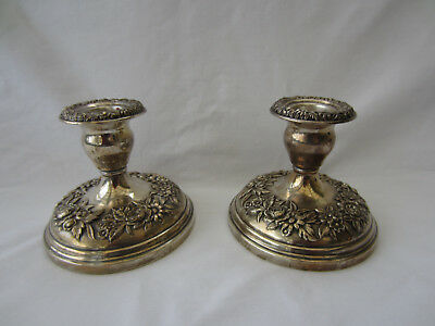 Sterling Kirk & Son Weighted Repousse Candle Holders, Sticks