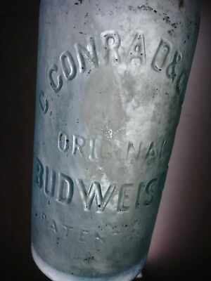 vintage antique old bottle 1870s Budweiser Conrad embossed dug chip on lip 12oz