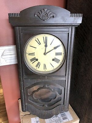 """Antique Wooden Wall Clock 23"""" Tall Vintage"""