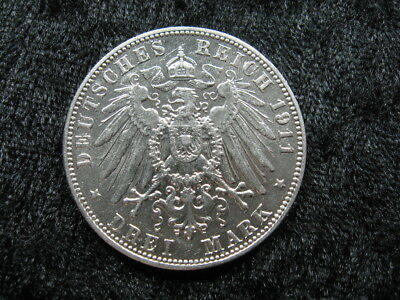1 large old world SILVER coin GERMANY SAXONY 3 drei mark 1911E KM1267   bb