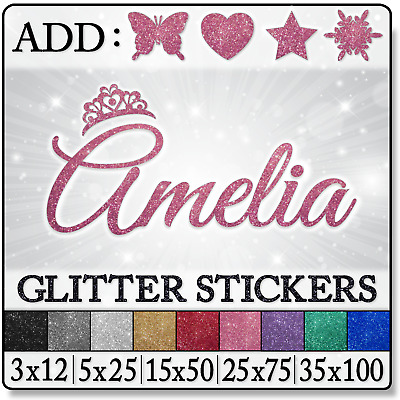 GLITTER Personalized NAME Baby Princess Tiara Girls Bedroom WALL Decals STICKERS