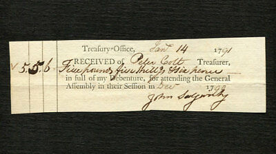 1791 Early Connecticut Treasury Receipt - Peter Colt - Firearms Family