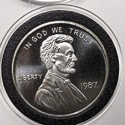 1987 Abraham Lincoln Penny Collectible Coin 1 Troy Oz .999 Fine Silver Round 999