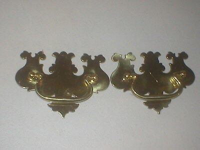 Pair Nos Reproduction Stanton Colonial Solid Brass Drawer Pulls W 2011 W 2012