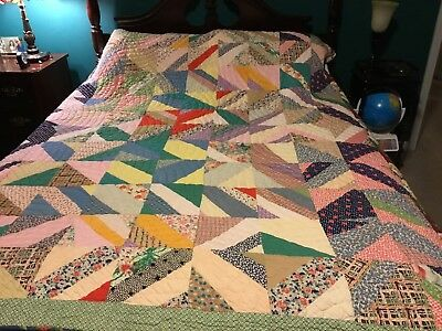 "Vintage Reversible Hand Pieced & Hand Quilted String Quilt 86"" X 67"" Baptist Fan"