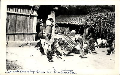 Village homes chickens weaving marked Guatemala ~ RPPC real photo postcard