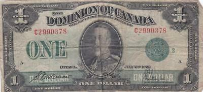 1923 Dominon of Canada $1 One Dollar Bill C 2990378 McCavour Saunders- Ungraded