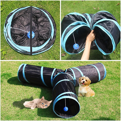 3 Way Collapsible Cat Tunnel Toys Pet Play Tube Crinkle for Indoor Cats Kittens