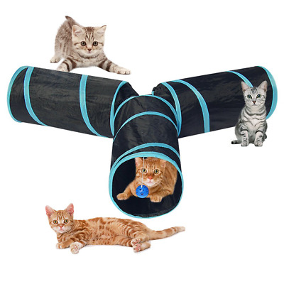 Indoor Cats Kittens Tunnel Toys 3 Way Collapsible Pet Play Tube Crinkle For Fun