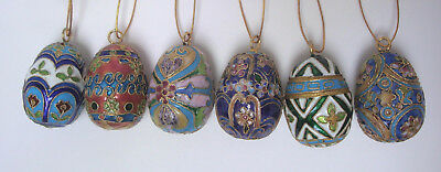 "6 Cloisonne Egg Colorful Floral Geometric Enamel Design Set Xmas 2"" Ornament Lot"