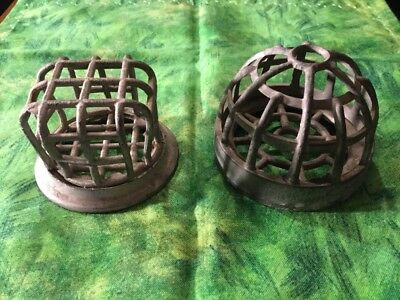 2 Vintage Industrial Cast Iron Heavy Duty Drain Cover Basket SteamPunk NOS