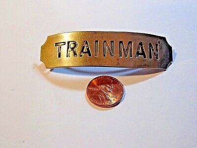 "Vintage Collectible Trainman Train Hat Badge 3"" x 3/4"""