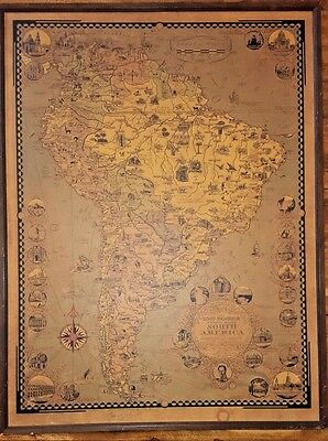 Rare WWII Era 1942 SIGNED! Ernest Dudley Chase SOUTH AMERICA Pictorial Map