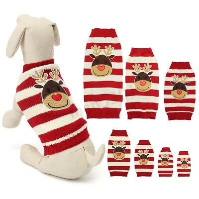 XXL Reindeer Christmas Sweater Pet Puppy Cat Dog Striped Knit Coat Clothes Gifts