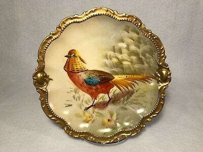 Coronet Limoges Hand Painted Golden Pheasant Plate Signed Artist Norys