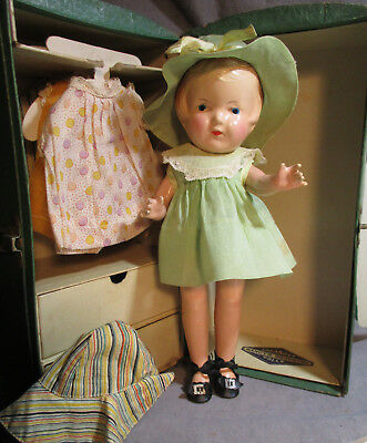 """Vintage Arranbee 12"""" Composition """"Nancy"""" Doll & Case - Tagged"""