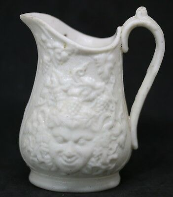 #C Antique Parian Ware English 1890's Grapes & Face Pitcher Creamer Jug 4.5""