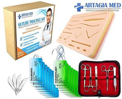Complete Suture Practice Kit for Suture Training, including Large Silicone Sutur
