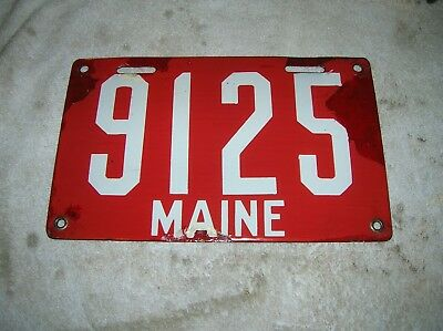 1905-1911 First Issue Maine Porcelain License Plate 4 Digit No 9125