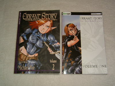 "RARE ""Errant Story"" Vol. 1 & 2 by Michael Poe Author Illustrator Signed Nice"