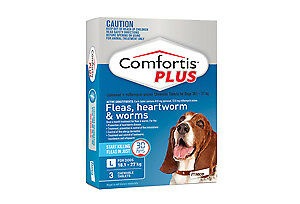 Comfortis Plus for Dogs Flea Heartworm Worms BLUE 18.1-27 kg 1 CHEW