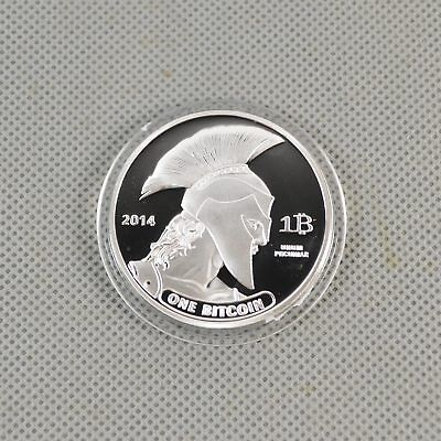 Fine Silver Plated Commemorative Bitcoin Collectible Iron Miner Coin Gift B16