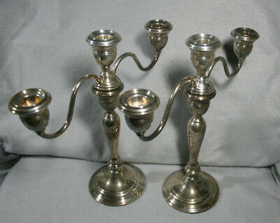 Pair Wallace 3-Arm Convertible weighted Sterling Silver Candelabra Candlesticks