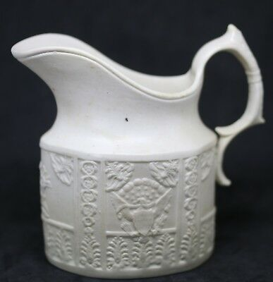 #K Antique Parian Ware  1890's Pitcher Creamer Jug Military Style Eagle 3.75""
