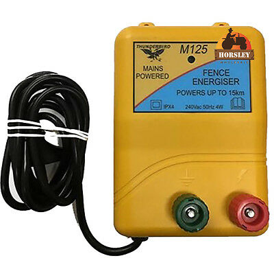15km MAINS Power Electric Fence ENERGISER Charger Thunderbird M125 Farm