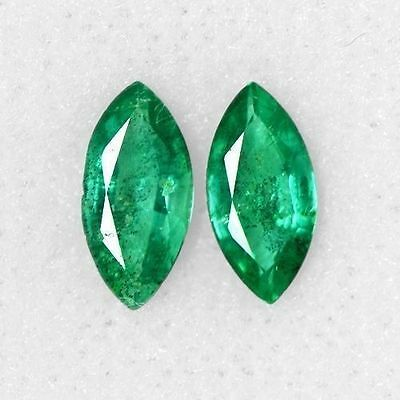 0.92 Cts Natural Top Green Emerald Marquise Cut Pair Zambia Untreated 8x4 mm Gem