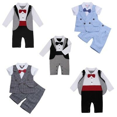 Baby Boys Gentleman Formal Tuxedo Suit Romper Jumpsuit Kids Party Casual Outfit