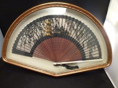 "Vintage Asian Folding Fan In Gilt Frame / Shadow Box   16 3/4 ""  long"